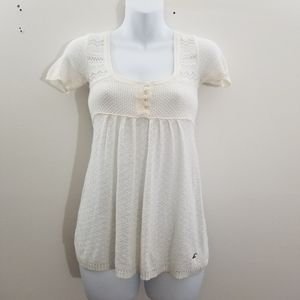 Hollister white scoop neck crochet knit to…